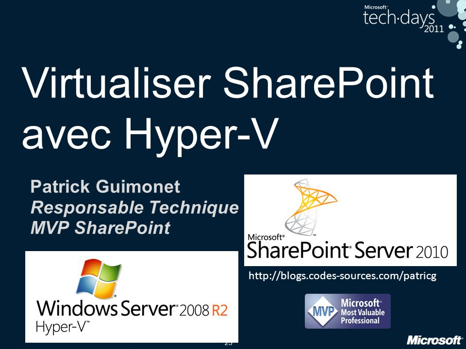 23 Virtualiser SharePoint avec Hyper-V Patrick Guimonet Responsable Technique MVP SharePoint http://blogs.codes-sources.com/patricg