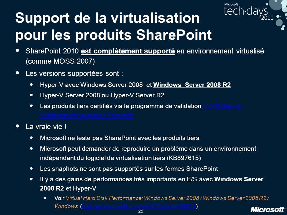 25 Support de la virtualisation pour les produits SharePoint SharePoint 2010 est complètement supporté en environnement virtualisé (comme MOSS 2007) L