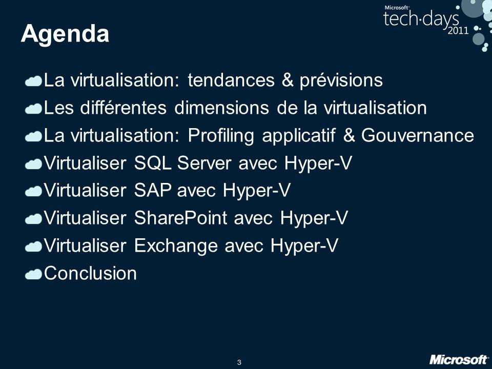 3 Agenda La virtualisation: tendances & prévisions Les différentes dimensions de la virtualisation La virtualisation: Profiling applicatif & Gouvernan