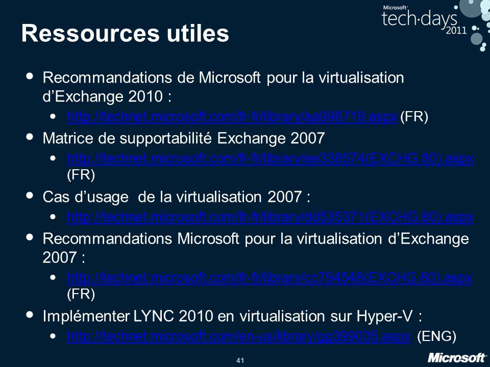 41 Ressources utiles Recommandations de Microsoft pour la virtualisation dExchange 2010 : http://technet.microsoft.com/fr-fr/library/aa996719.aspx (FR