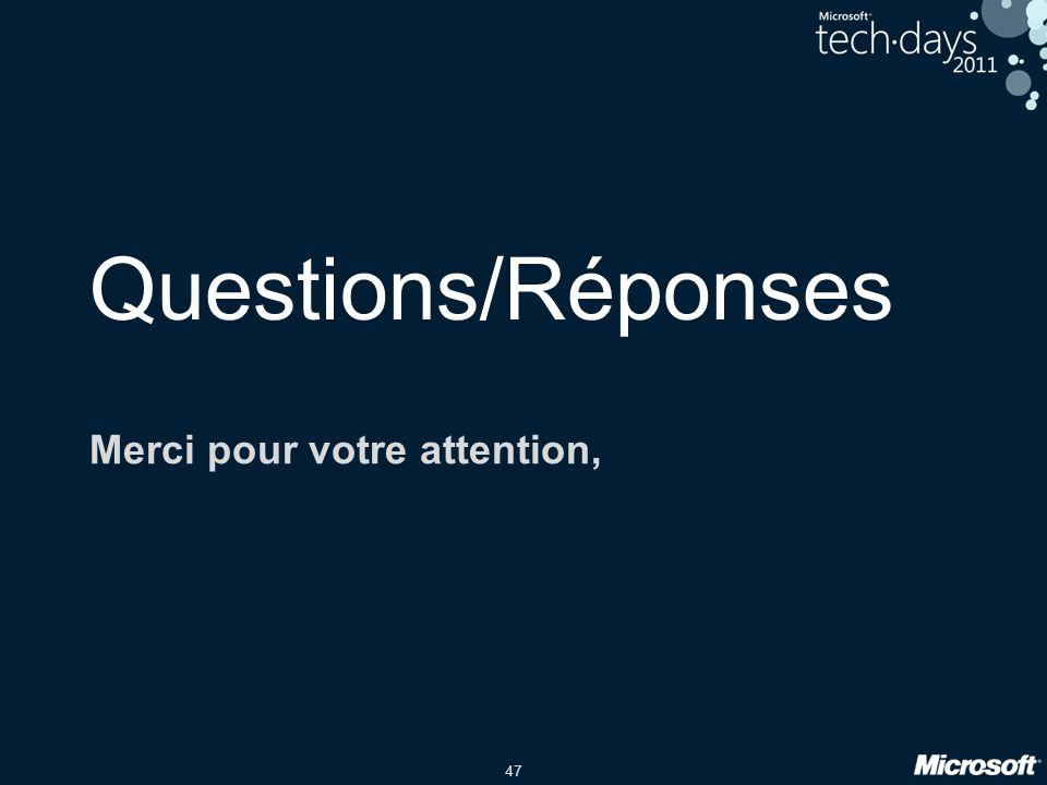 47 Questions/Réponses Merci pour votre attention,