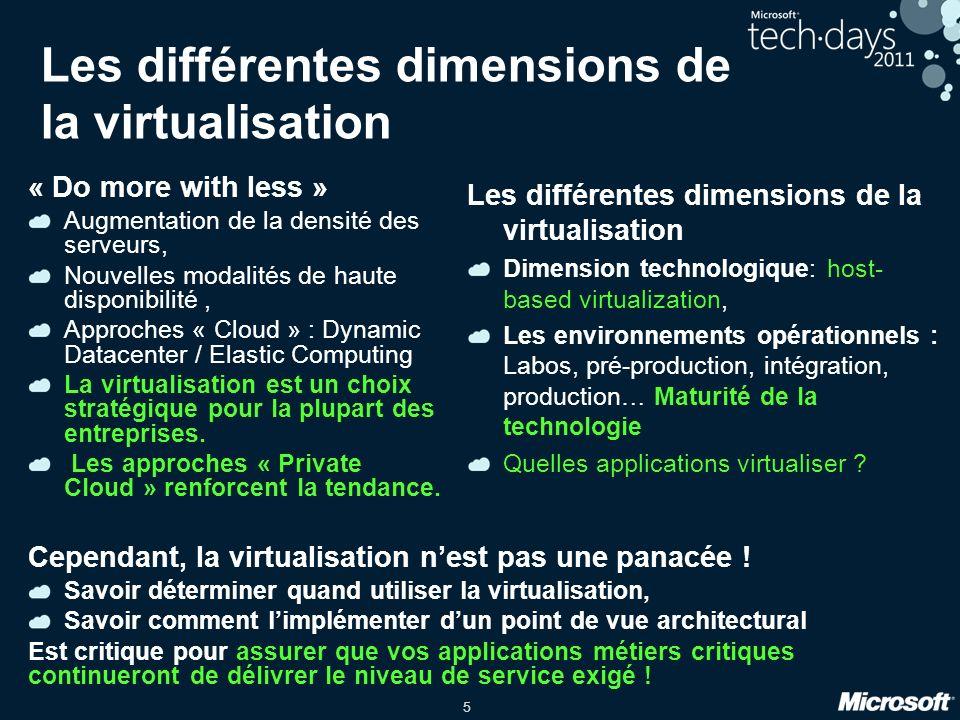 5 « Do more with less » Augmentation de la densité des serveurs, Nouvelles modalités de haute disponibilité, Approches « Cloud » : Dynamic Datacenter