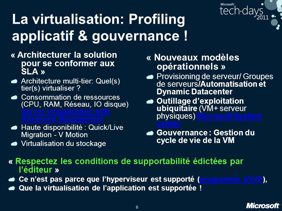 7 Comment virtualiser… Microsoft SQL avec Hyper-V SAP avec Hyper-V Microsoft SharePoint avec Hyper-V Microsoft Exchange avec Hyper-v Recommandations & Bonnes pratiques.