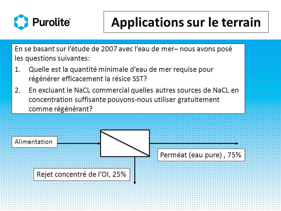 En se basant sur létude de 2007 avec leau de mer nous avons posé les questions suivantes: 1.Quelle est la quantité minimale deau de mer requise pour régénérer efficacement la résice SST.
