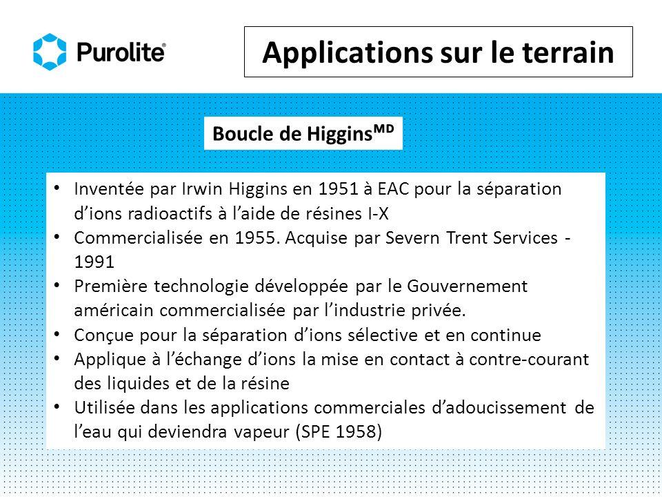 Inventée par Irwin Higgins en 1951 à EAC pour la séparation dions radioactifs à laide de résines I-X Commercialisée en 1955. Acquise par Severn Trent