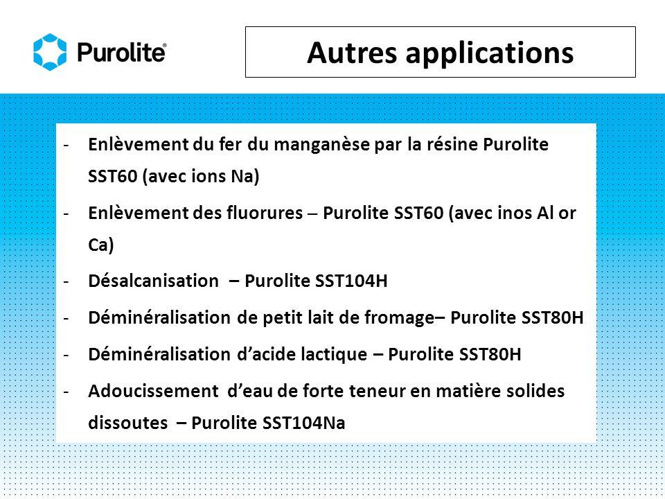 -Enlèvement du fer du manganèse par la résine Purolite SST60 (avec ions Na) -Enlèvement des fluorures Purolite SST60 (avec inos Al or Ca) -Désalcanisation – Purolite SST104H -Déminéralisation de petit lait de fromage– Purolite SST80H -Déminéralisation dacide lactique – Purolite SST80H -Adoucissement deau de forte teneur en matière solides dissoutes – Purolite SST104Na Autres applications