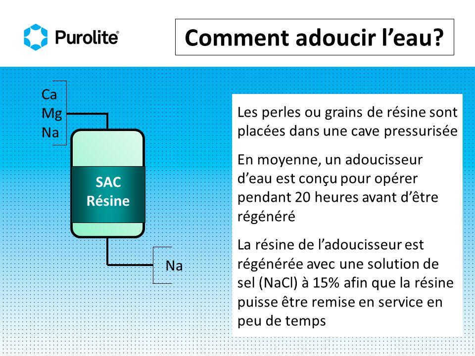 Étapes de la régénération Rétrolavage Expansion du lit 50 - 80 % -pour séparer les perles -pour enlever les matières colloïdales -pour assurer un bon contact avec la saumure Volume de leau de lavage : 1.5 à 4 fois le volume du lit Durée : -10-20 minutes Débit: -dépend de la température de leau normalement 7 - 12 m/h (3-5 gal US/pi 2.) Effluent à drainer SAC Résine Eau de lavage