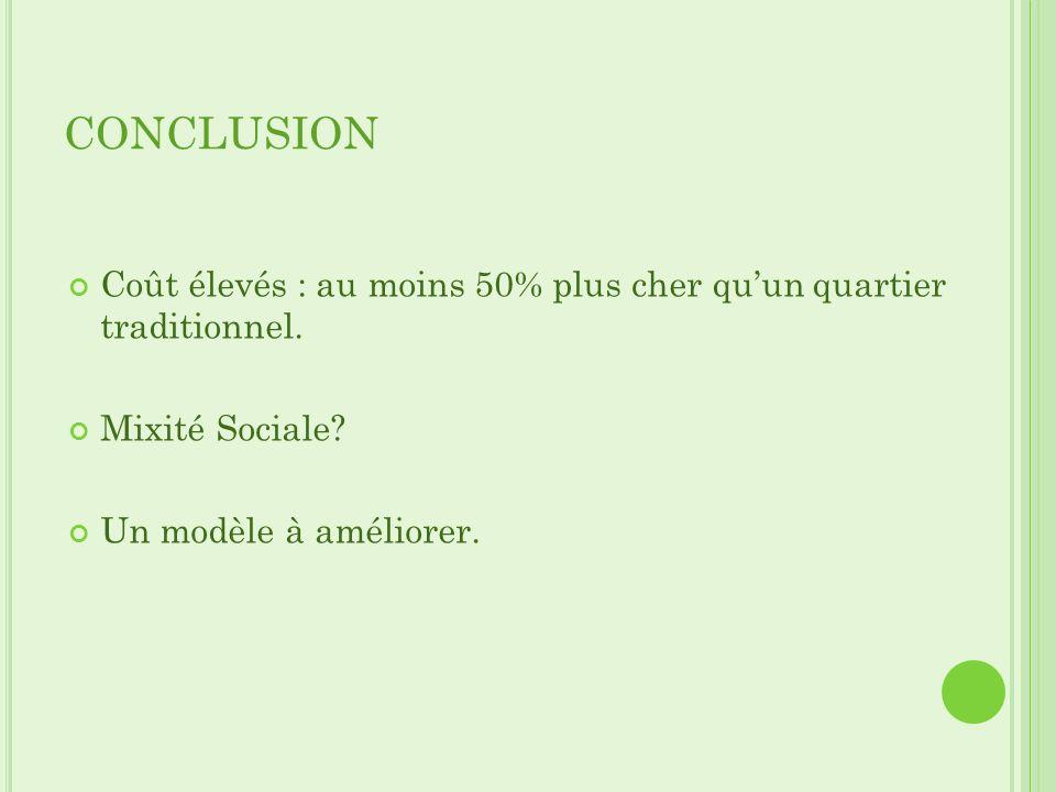 CONCLUSION Coût élevés : au moins 50% plus cher quun quartier traditionnel. Mixité Sociale? Un modèle à améliorer.