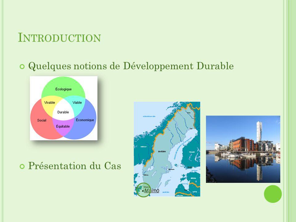 I NTRODUCTION Quelques notions de Développement Durable Présentation du Cas