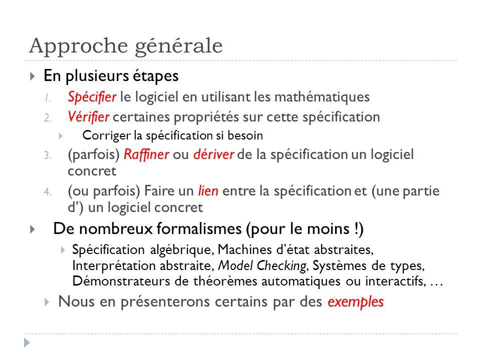 Approche générale En plusieurs étapes 1. Spécifier le logiciel en utilisant les mathématiques 2. Vérifier certaines propriétés sur cette spécification