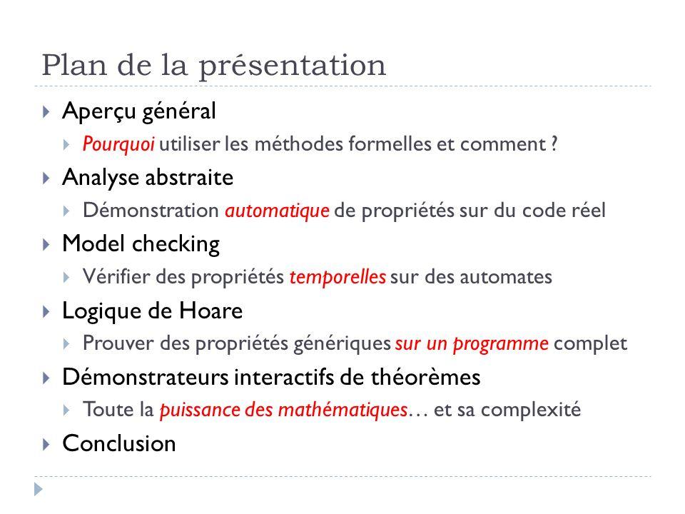 Plan de la présentation Aperçu général Pourquoi utiliser les méthodes formelles et comment ? Analyse abstraite Démonstration automatique de propriétés