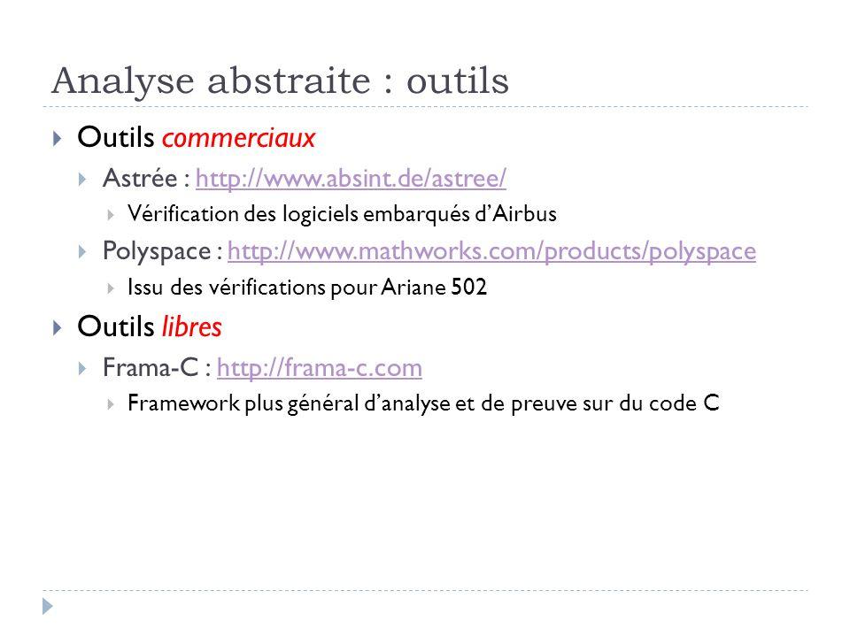 Analyse abstraite : outils Outils commerciaux Astrée : http://www.absint.de/astree/http://www.absint.de/astree/ Vérification des logiciels embarqués d