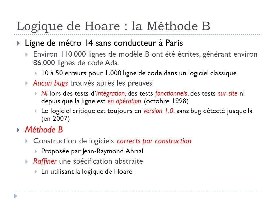Logique de Hoare : la Méthode B Ligne de métro 14 sans conducteur à Paris Environ 110.000 lignes de modèle B ont été écrites, générant environ 86.000