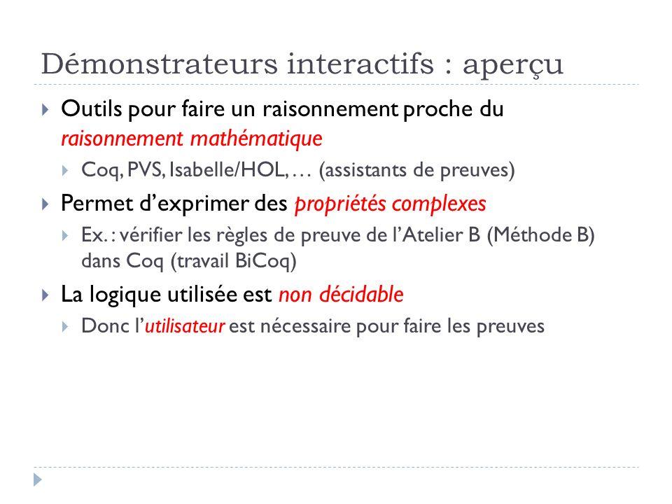 Démonstrateurs interactifs : aperçu Outils pour faire un raisonnement proche du raisonnement mathématique Coq, PVS, Isabelle/HOL, … (assistants de pre