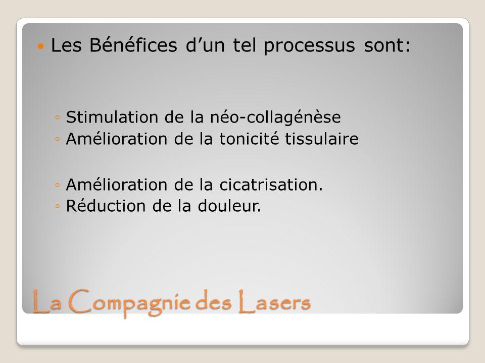 La Compagnie des Lasers Les Bénéfices dun tel processus sont: Stimulation de la néo-collagénèse Amélioration de la tonicité tissulaire Amélioration de