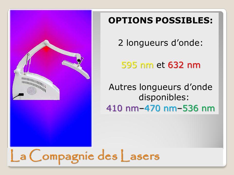 OPTIONS POSSIBLES: 2 longueurs donde: 595 nm 632 nm 595 nm et 632 nm Autres longueurs donde disponibles: 410 nm–470 nm–536 nm La Compagnie des Lasers