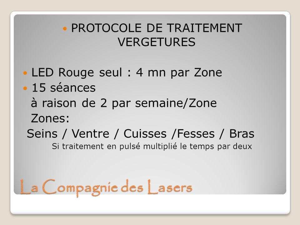 PROTOCOLE DE TRAITEMENT VERGETURES LED Rouge seul : 4 mn par Zone 15 séances à raison de 2 par semaine/Zone Zones: Seins / Ventre / Cuisses /Fesses /
