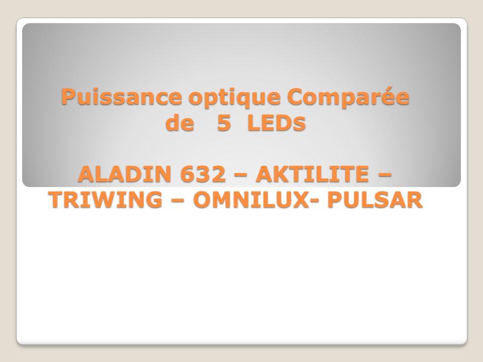 Puissance optique Comparée de 5 LED S ALADIN 632 – AKTILITE – TRIWING – OMNILUX- PULSAR