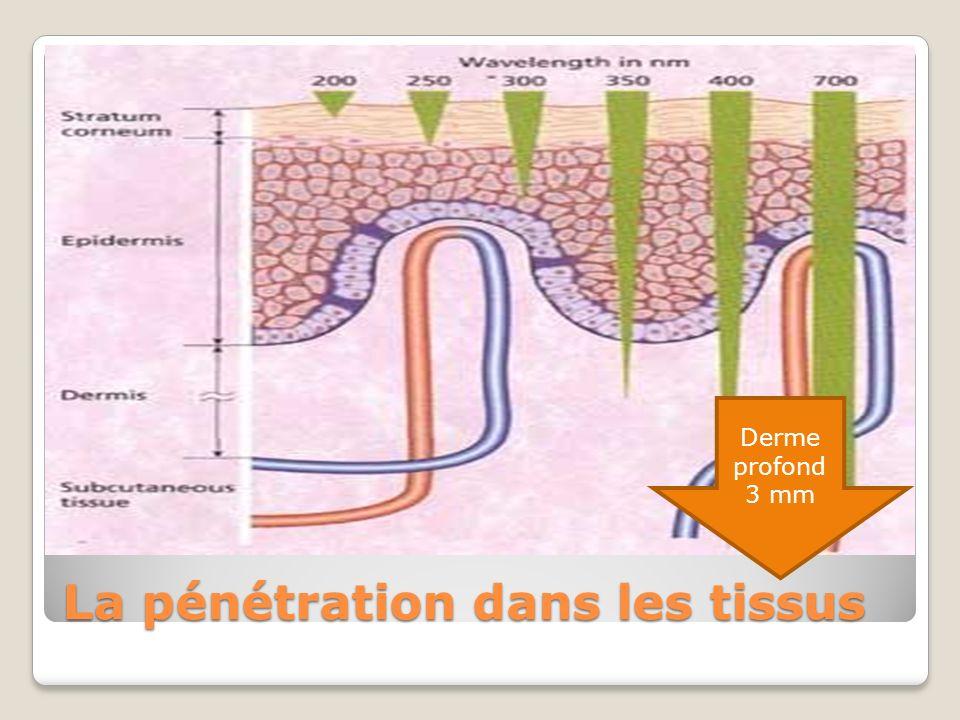 La pénétration dans les tissus Derme profond 3 mm