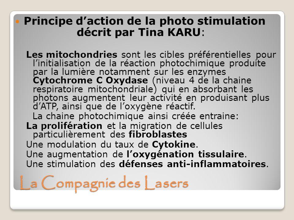 La Compagnie des Lasers Principe daction de la photo stimulation décrit par Tina KARU: Les mitochondries sont les cibles préférentielles pour linitial