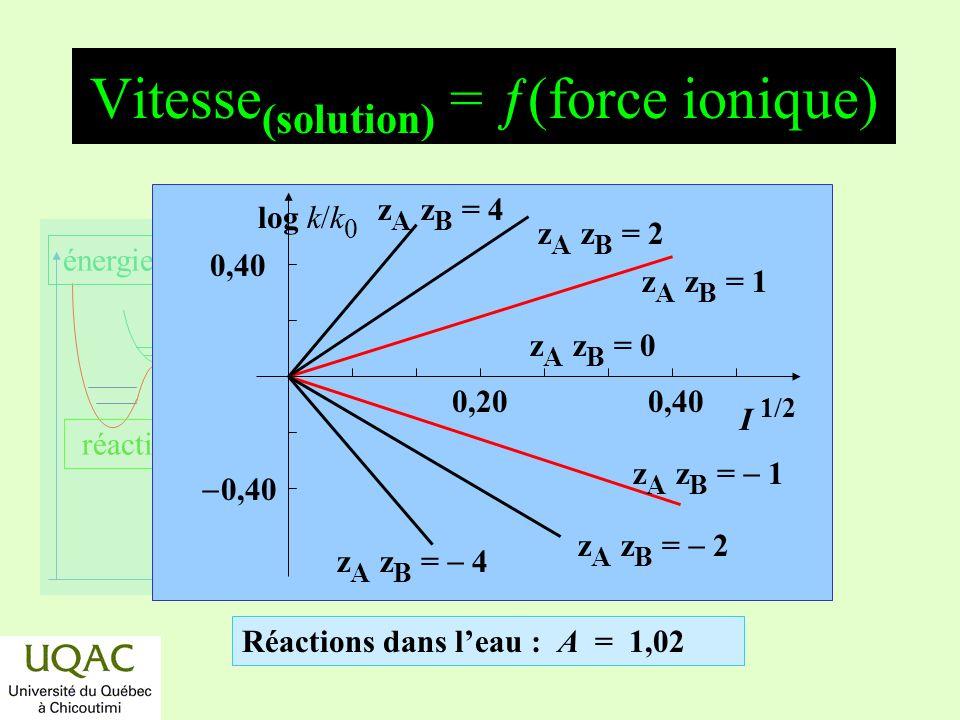 réactifs produits énergie temps Vitesse (solution) = ƒ(force ionique) Réactions dans leau : A = 1,02 z A z B = 1 z A z B = 2 z A z B = 4 z A z B = 1 z