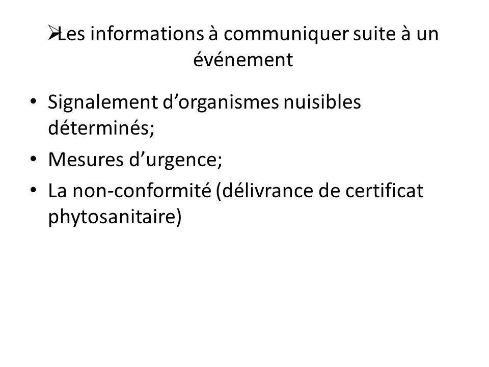 Les informations à communiquer suite à un événement Signalement dorganismes nuisibles déterminés; Mesures durgence; La non-conformité (délivrance de c