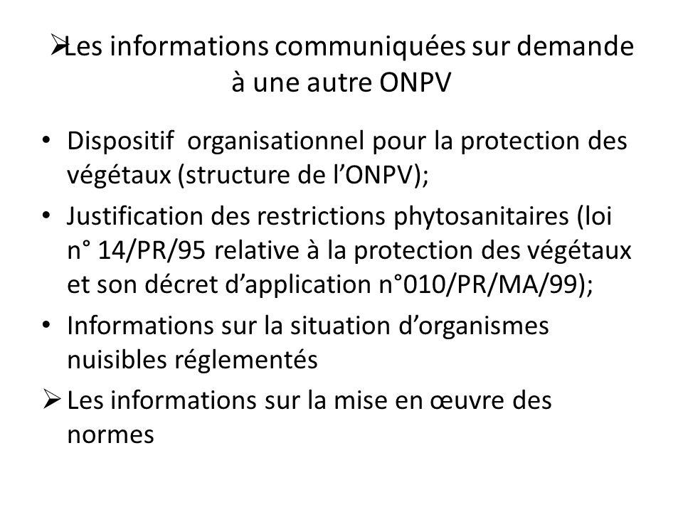 Les informations communiquées sur demande à une autre ONPV Dispositif organisationnel pour la protection des végétaux (structure de lONPV); Justificat