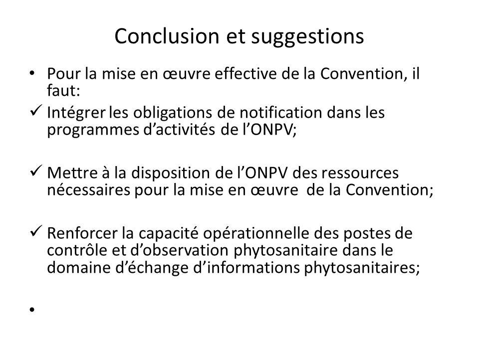 Conclusion et suggestions Pour la mise en œuvre effective de la Convention, il faut: Intégrer les obligations de notification dans les programmes dact