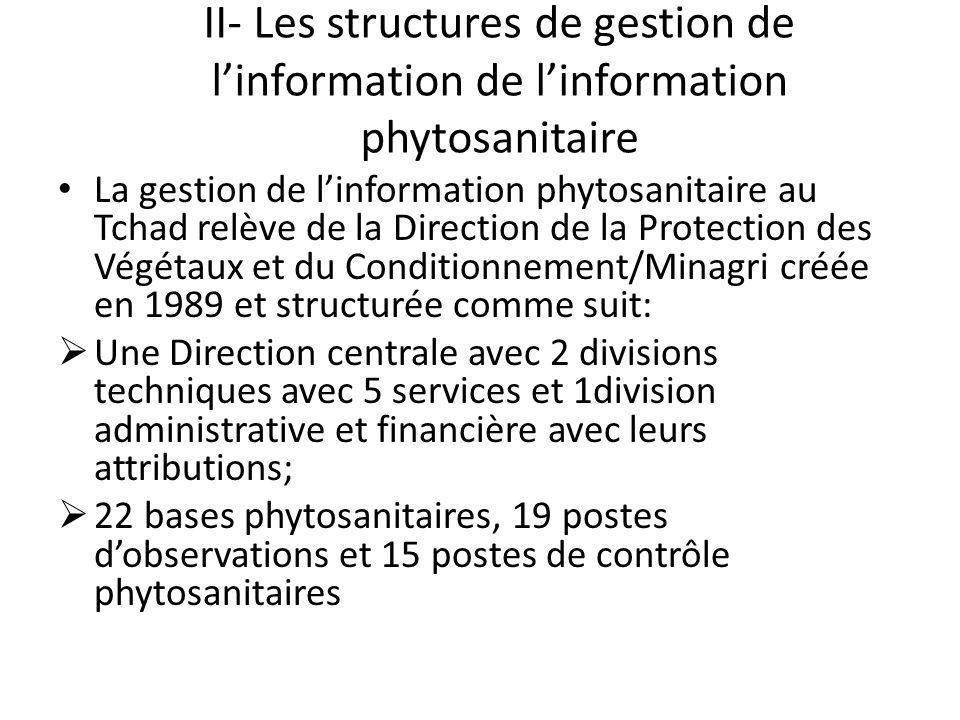 II- Les structures de gestion de linformation de linformation phytosanitaire La gestion de linformation phytosanitaire au Tchad relève de la Direction