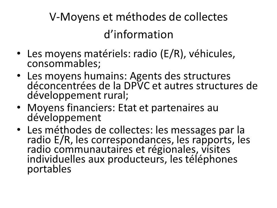 V-Moyens et méthodes de collectes dinformation Les moyens matériels: radio (E/R), véhicules, consommables; Les moyens humains: Agents des structures d