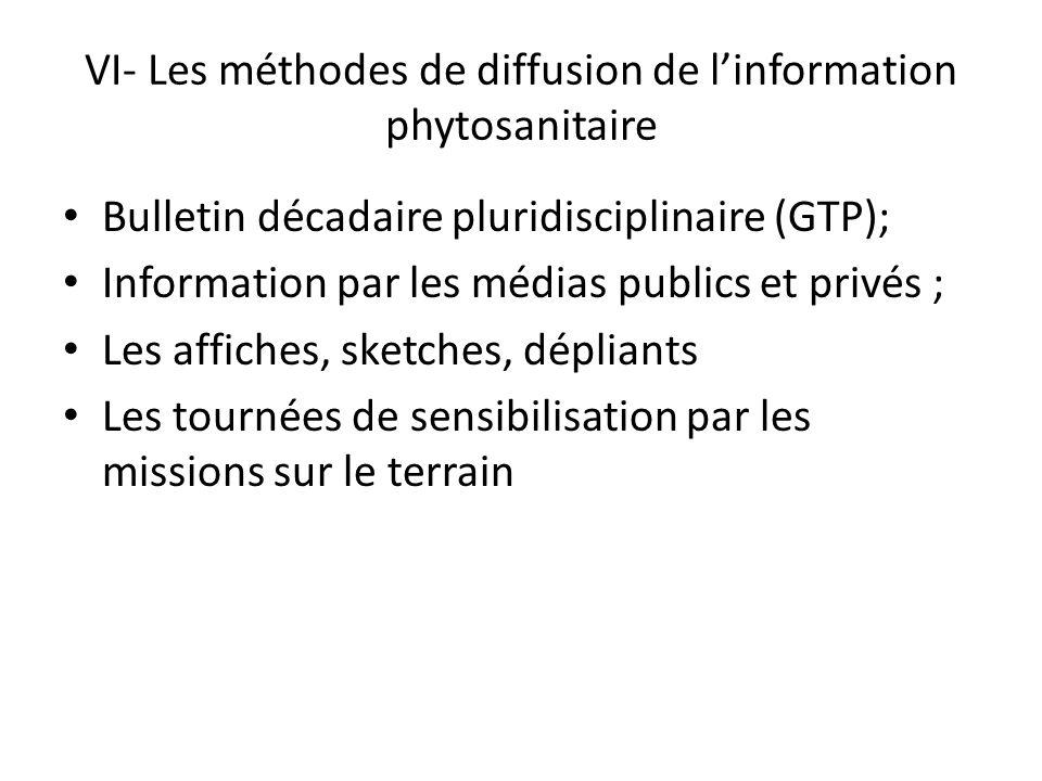 VI- Les méthodes de diffusion de linformation phytosanitaire Bulletin décadaire pluridisciplinaire (GTP); Information par les médias publics et privés