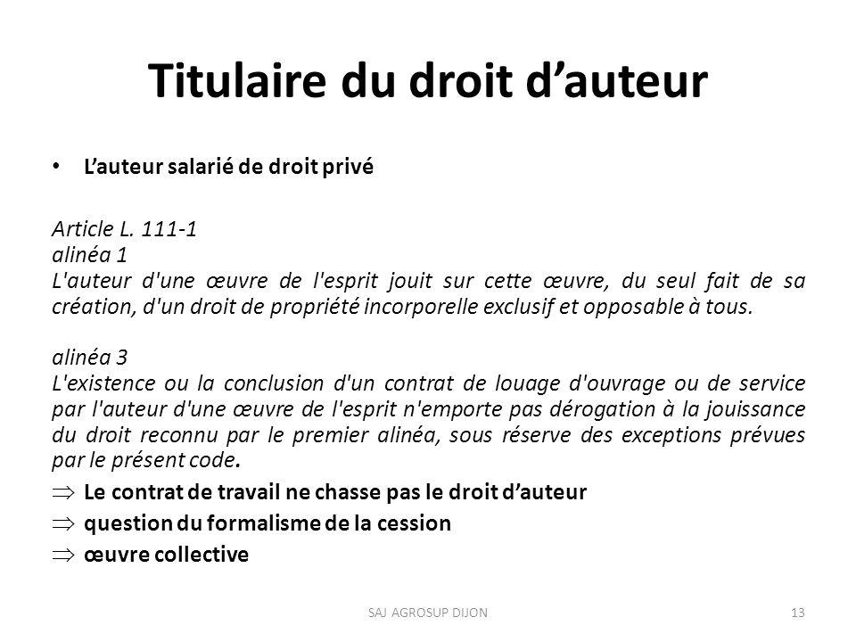 Titulaire du droit dauteur Lauteur salarié de droit privé Article L.