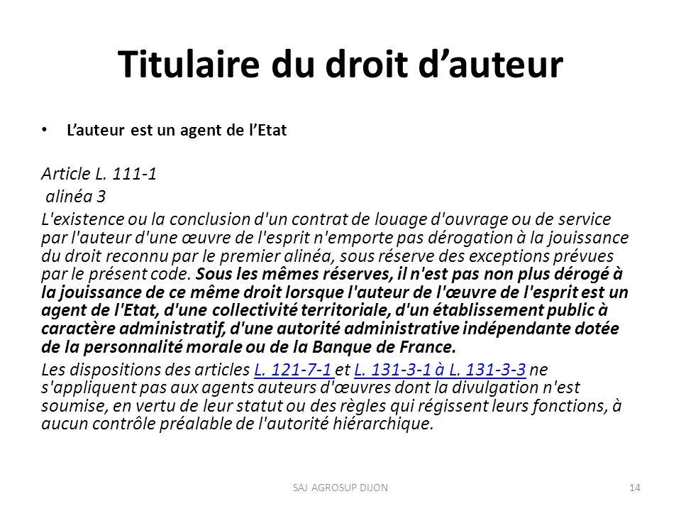 Titulaire du droit dauteur Lauteur est un agent de lEtat Article L.