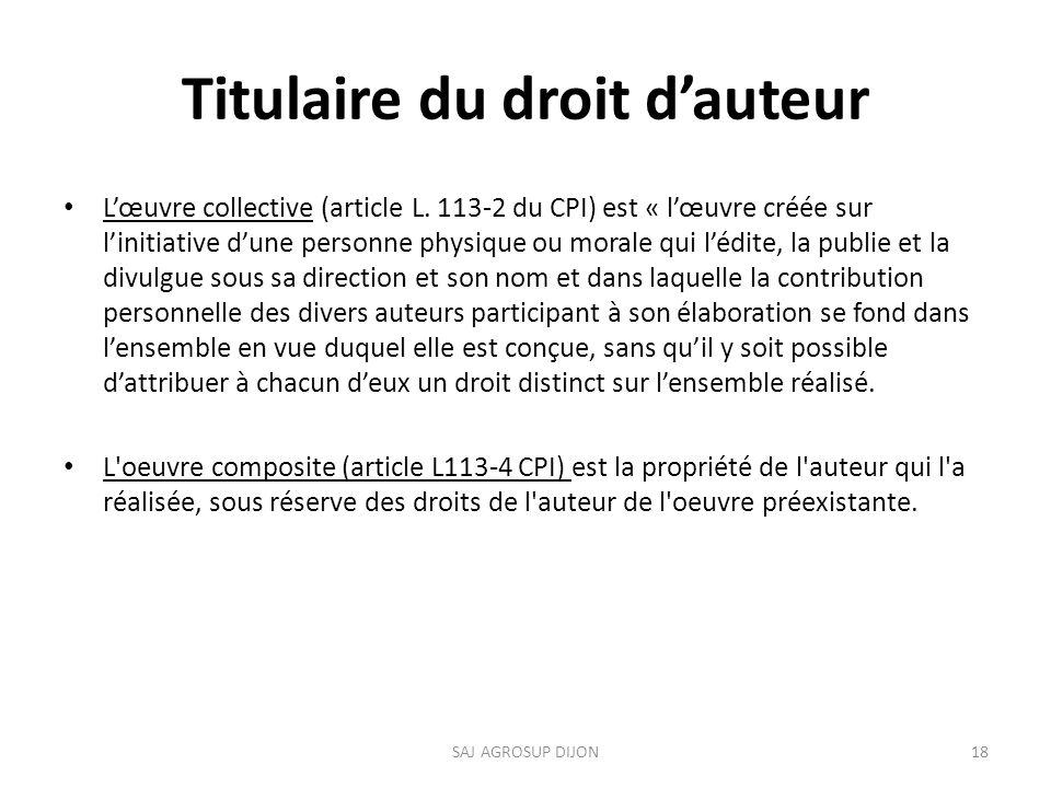Titulaire du droit dauteur Lœuvre collective (article L.