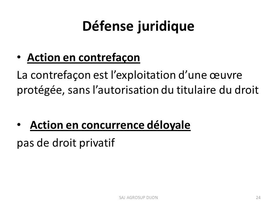 Défense juridique Action en contrefaçon La contrefaçon est lexploitation dune œuvre protégée, sans lautorisation du titulaire du droit Action en concurrence déloyale pas de droit privatif 24SAJ AGROSUP DIJON
