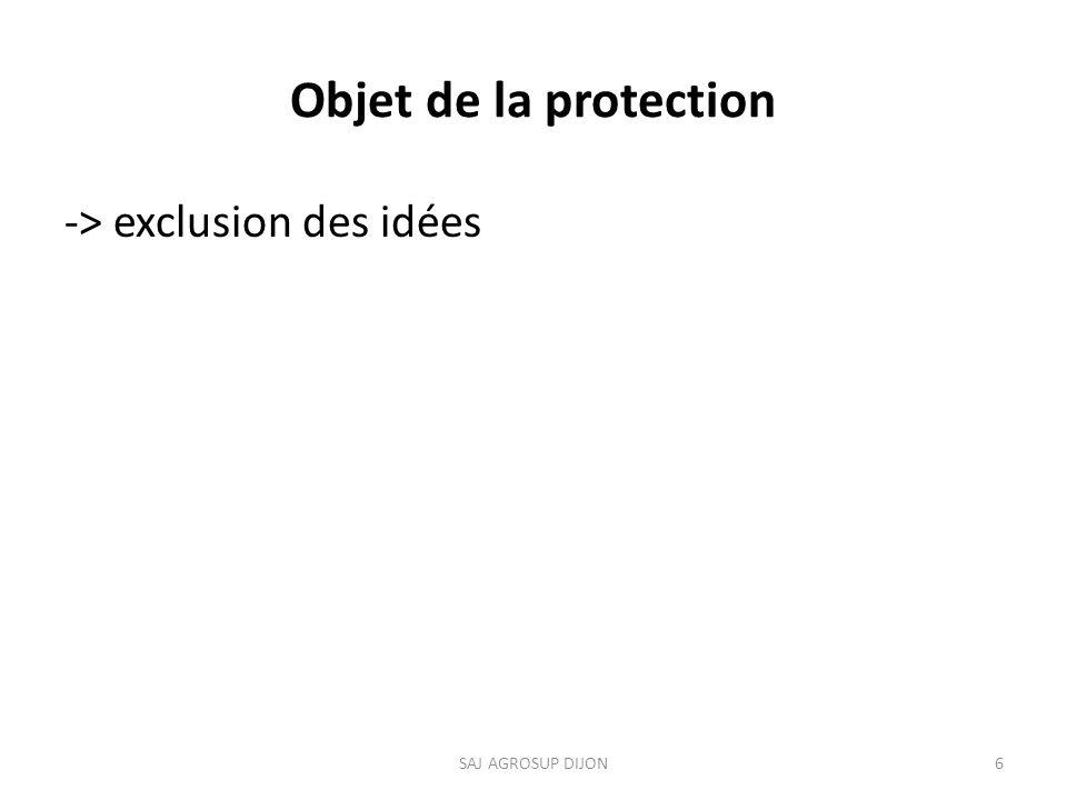 Objet de la protection -> exclusion des idées 6SAJ AGROSUP DIJON