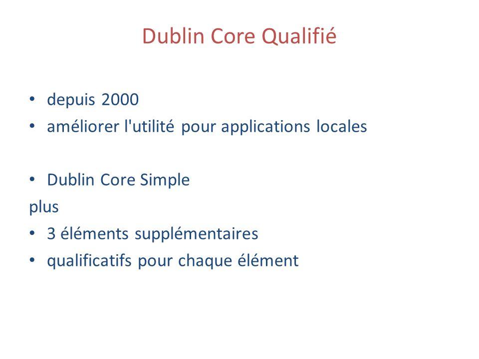 Dublin Core Qualifié depuis 2000 améliorer l utilité pour applications locales Dublin Core Simple plus 3 éléments supplémentaires qualificatifs pour chaque élément