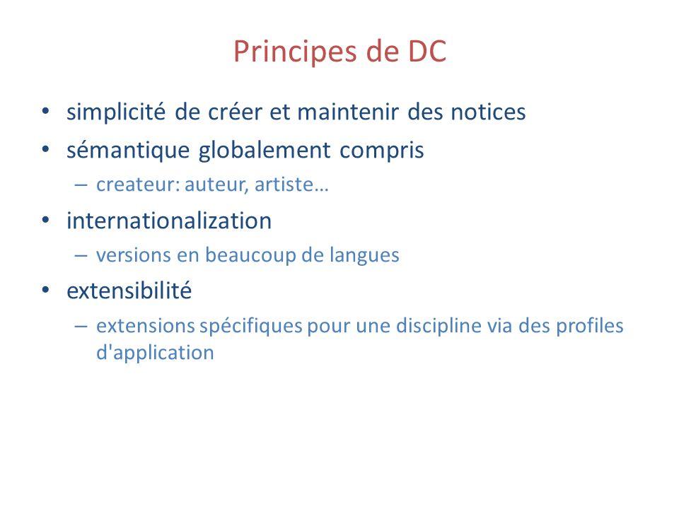 Principes de DC simplicité de créer et maintenir des notices sémantique globalement compris – createur: auteur, artiste… internationalization – versio
