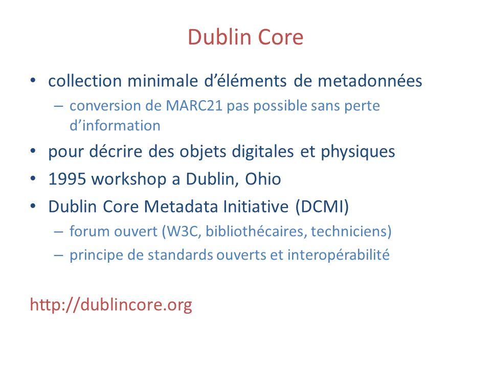 Dublin Core collection minimale déléments de metadonnées – conversion de MARC21 pas possible sans perte dinformation pour décrire des objets digitales
