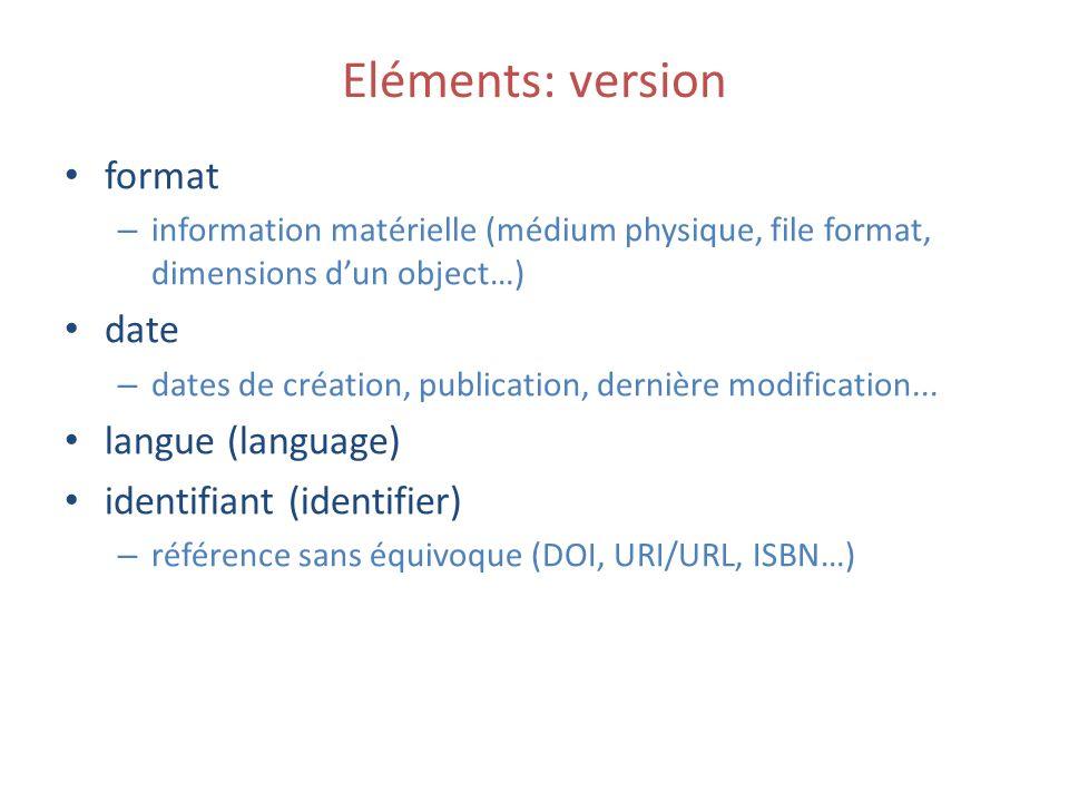 Eléments: version format – information matérielle (médium physique, file format, dimensions dun object…) date – dates de création, publication, dernière modification...