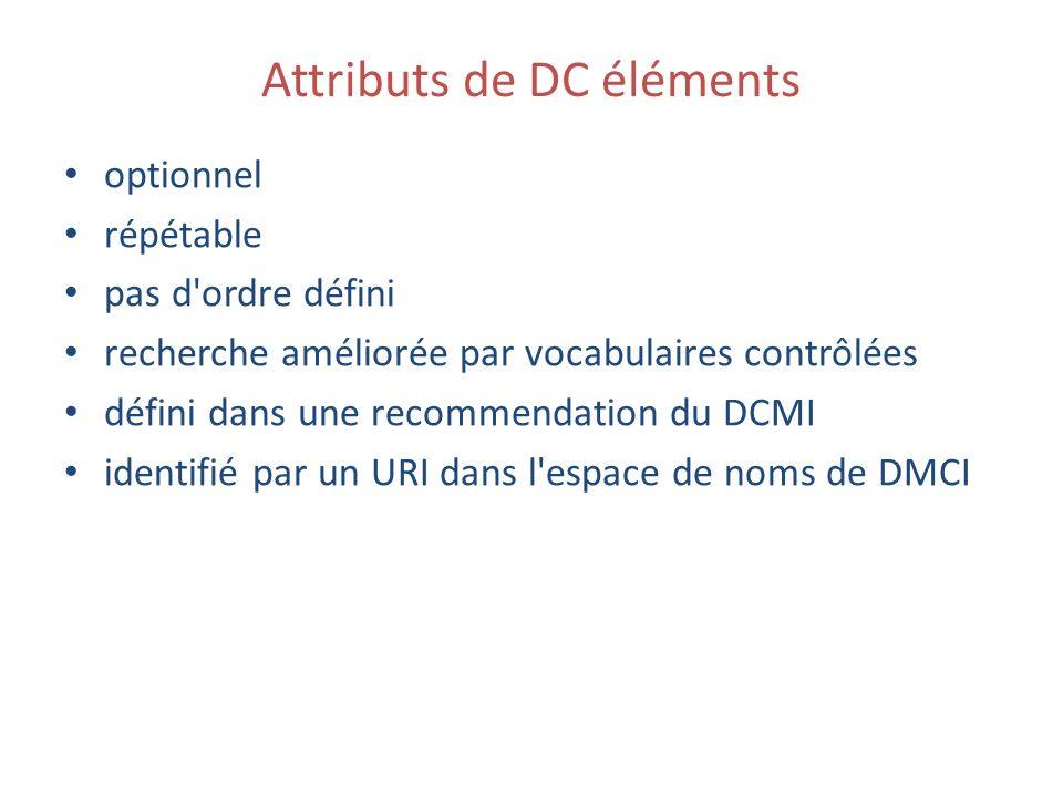 Attributs de DC éléments optionnel répétable pas d ordre défini recherche améliorée par vocabulaires contrôlées défini dans une recommendation du DCMI identifié par un URI dans l espace de noms de DMCI