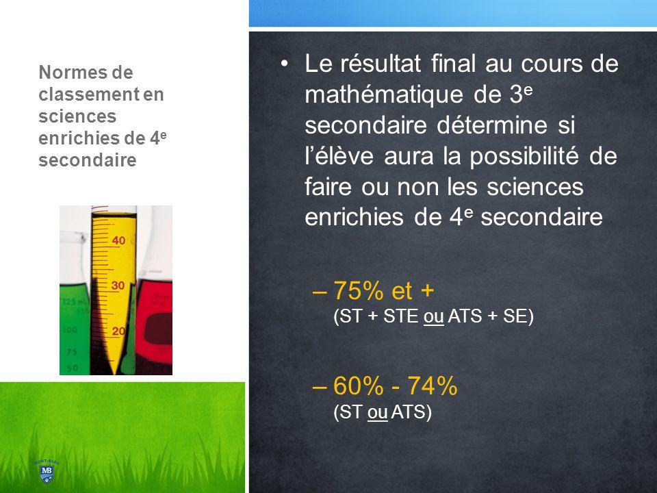 Normes de classement en sciences enrichies de 4 e secondaire Le résultat final au cours de mathématique de 3 e secondaire détermine si lélève aura la possibilité de faire ou non les sciences enrichies de 4 e secondaire –75% et + (ST + STE ou ATS + SE) –60% - 74% (ST ou ATS)