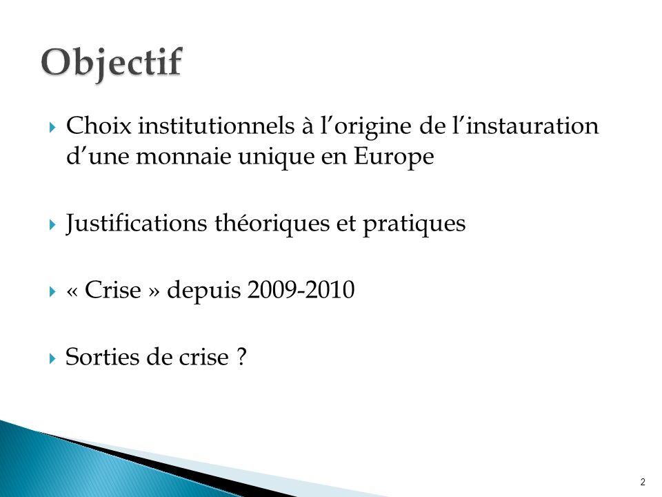 Choix institutionnels à lorigine de linstauration dune monnaie unique en Europe Justifications théoriques et pratiques « Crise » depuis 2009-2010 Sorties de crise .