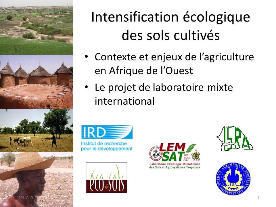 Intensification écologique des sols cultivés Contexte et enjeux de lagriculture en Afrique de lOuest Le projet de laboratoire mixte international 12/0