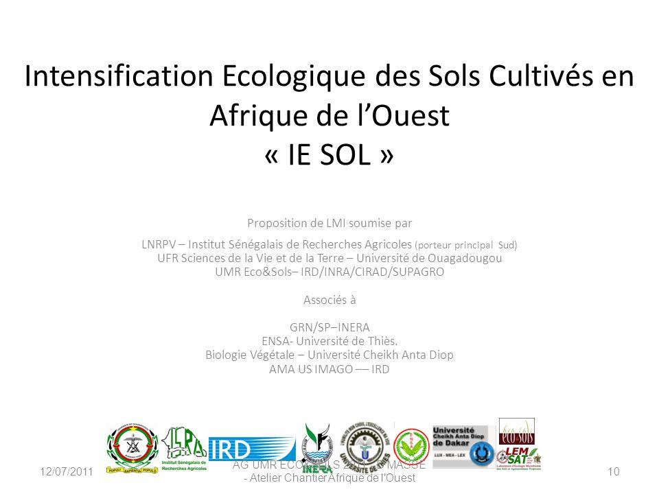 Intensification Ecologique des Sols Cultivés en Afrique de lOuest « IE SOL » Proposition de LMI soumise par LNRPV – Institut Sénégalais de Recherches