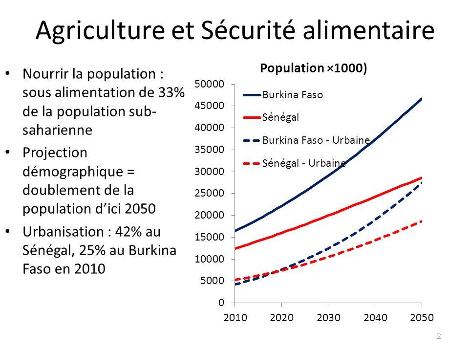 Agriculture et Sécurité alimentaire Nourrir la population : sous alimentation de 33% de la population sub- saharienne Projection démographique = doubl