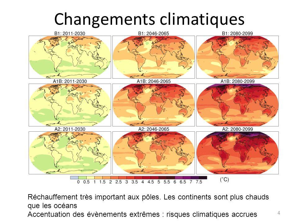 Changements climatiques 4 Réchauffement très important aux pôles. Les continents sont plus chauds que les océans Accentuation des évènements extrêmes