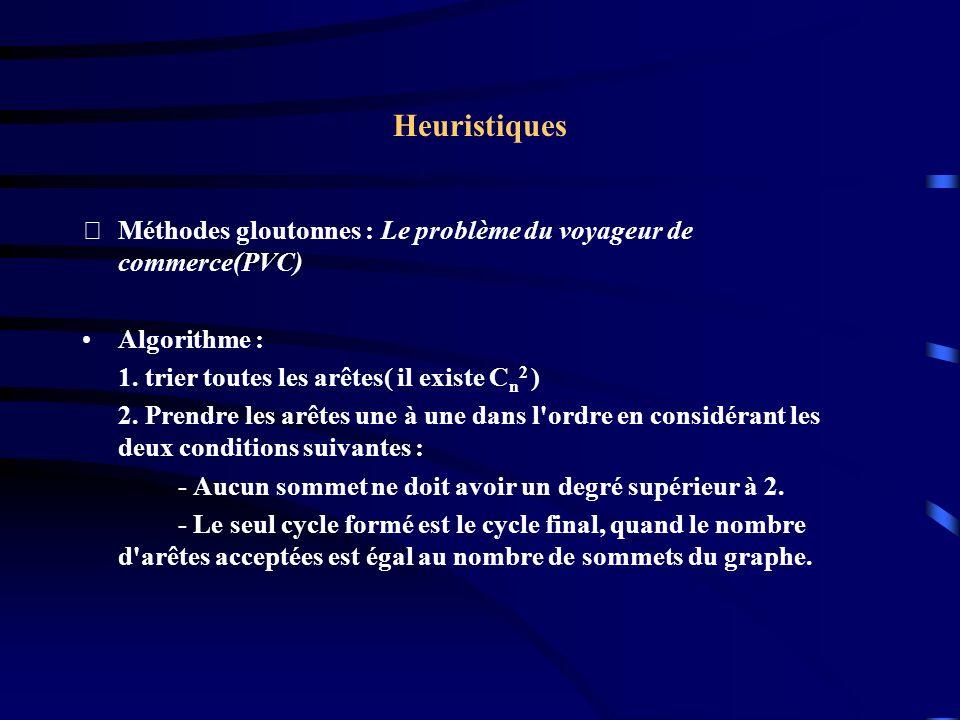 Heuristiques Méthodes gloutonnes : Le problème du voyageur de commerce(PVC) Algorithme : 1. trier toutes les arêtes( il existe C n 2 ) 2. Prendre les
