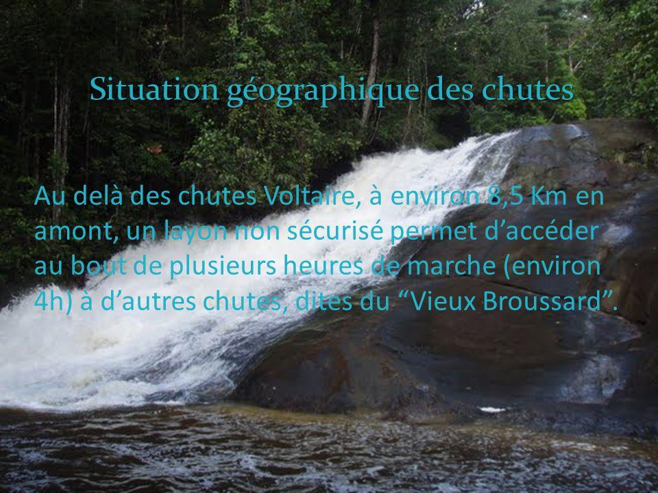 Au delà des chutes Voltaire, à environ 8,5 Km en amont, un layon non sécurisé permet daccéder au bout de plusieurs heures de marche (environ 4h) à dautres chutes, dites du Vieux Broussard.