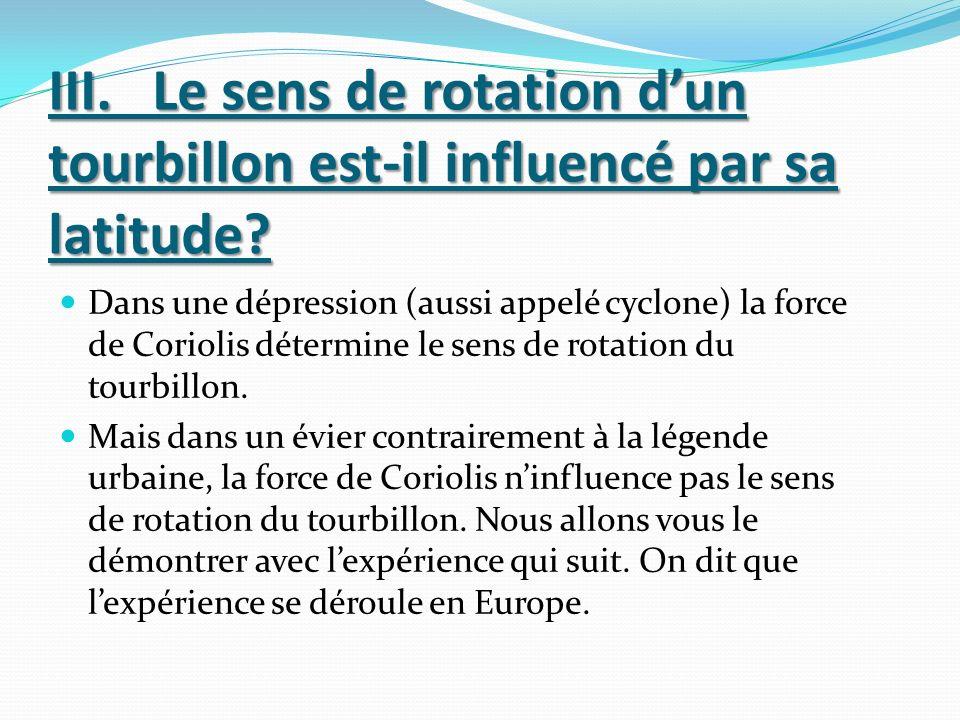 III.Le sens de rotation dun tourbillon est-il influencé par sa latitude.